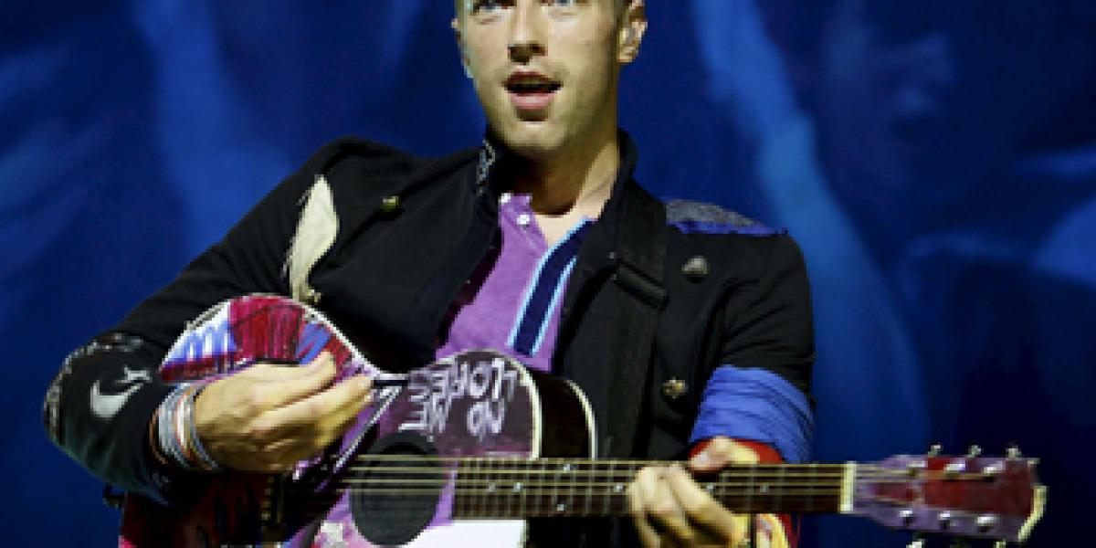 Coldplay durante el concierto en el Palau Sant Jordi de Barcelona