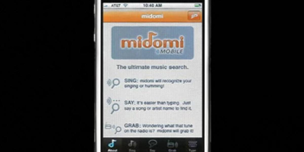 iPhone durante el proceso de reconocimiento de Midomi