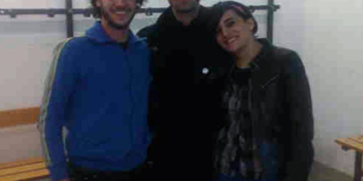 Liam Gallagher junto a nuestros intrépidos oyentes Víctor y Ana