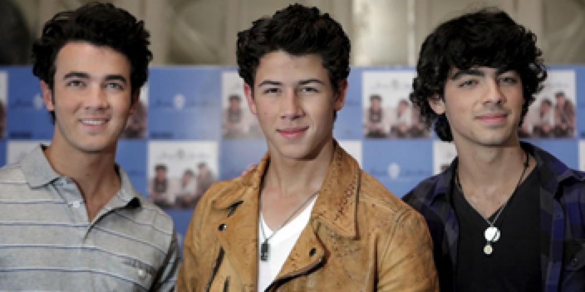 Jonas Brothers en rueda de prensa el pasado sábado