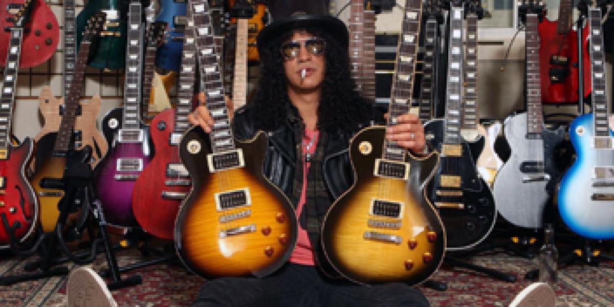 Slash portando modelos Gibson Les Paul