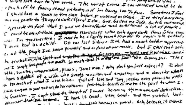 La nota de suicidio de Kurt Cobain